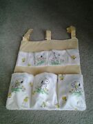 Snoopy And Woodstock Vintage 80's Baby Nursery Pocket Storage Fabric Wall Hanging