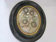 Antiques French Victorian Mourning Hair Art Convex Glass Frame Reliquary 19th
