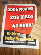 Vintage Dr Hess Farm Poultry Worm Powder Advertising Farm Poster Sign