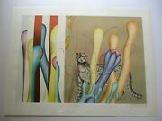 Vintage Yankel Ginzburg Lithograph Large Pencil Signed Rare Abstract Modernist