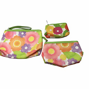 Clinique Set Of 3 Bags Makeup Cosmetic Bag Small Coin Purse White Green Pink