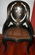 Antique Victorian Paper Mache Mother Of Pearl Floral Cane Seat Chair