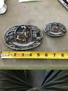 Vintage Large And Small 1986 Bergamot Brass Works Championship Rodeo Belt Buckles