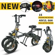 14 Inches 3 Wheel 48v 15.6ah 350w Foldable Electric Tricycle Folding Two Battery