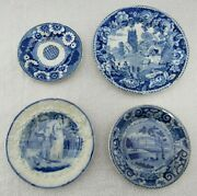 4 Antique Staffordshire Dark Blue Transferware Cup Plates And Toddy Plate