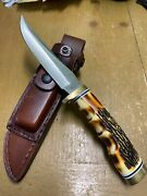 New Schrade Uncle Henry Golden Spike Fixed Blade Knife W/sheath And Stone- China