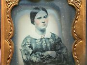 Strong Determined Girl 1858 9th Plate Ambrotype Photo Pretty Teenage Lady Tint