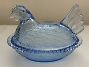 Vtg Pale Blue Indiana Glass Hen On A Nest Chicken Dish Mint Condition