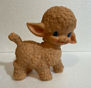 Vintage 1955 The Sun Rubber Co. Lamb Rubber Squeaky Baby Toy, 6.5 Tall Pink