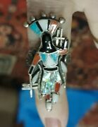3 Color Turquoise Jade And Coral Sterling Dancing Medicine Man Silver Zuni Ring