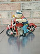 Popeye On Harley Davidson Cast Iron Hog Movable Arms Cycle Motorcycle 2 Pc Toy