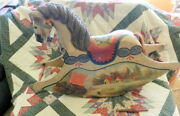 Wood Riding Rocking Horse Carved Decorated Pennsylvania Dutch Style Needs Love