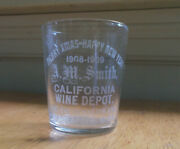 Happy New Year 1909 A.m.smith Minneapolis Pre Pro Adv Etched Whiskey Shot Glass