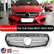 For Mercedes-benz Cla-class W117 Diamond 2013-2015 Grill Grille Chrome Silver