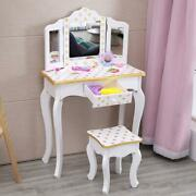 Fch Kids Little Princess Girls Vanity Table Set With Drawer And Mirror Play Gift