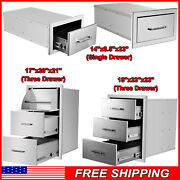 Outdoor Kitchen Drawer Cabinet Stainless Steel Barbecue Island Drawer Three Draw