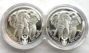 South Africa 2019 Elephant 1oz Double Pack Twin Silver Coinsproofrare