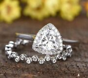 925 Sterling Silver 1.80ct Trillion Cut Halo Moissanite Wedding Bridle Ring Set