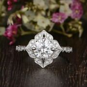 1.75ct Round Cut Floral Halo Moissanite Wedding Bridle Ring 925 Sterling Silver