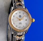 Ladies Tag Heuer Link 18k Gold And Ss Watch - Mop Diamond Dial And Bezel - Wjf1354