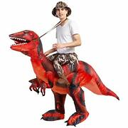 Deluxe Halloween Costume Inflatable Dinosaur Costume Riding A T Rex Air Blow Up