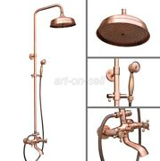 Red Copper Shower Faucet 8 Rain Shower Head With Handshower Set Tub Mixer Tap