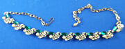 Neckless Green Stones And Pearls Vintage Jewellery
