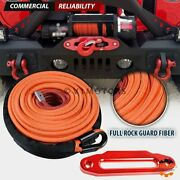 95and039x 3/8 Orange Synthetic Winch Rope Cable 22000lb + 10 Red Cnc Hawse Fairlead