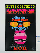 Elvis Costello Rare Authentic Signed Vip Lithograph Poster Print 2011 Tour + Bas