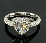 Wedding Bridle Ring 1.90ct Heart Near White Moissanite Halo 925 Sterling Silver