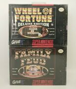 Wheel Of Fortune Deluxe Editon And Family Feud Super Nintendo Snes Factory Sealed