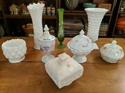 Huge Lot Of Winter Westmoreland Glass Vase Covered Compote Anniversary Dish
