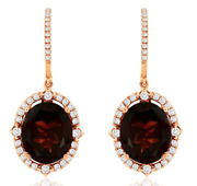 Large 11.70ct Diamond And Aaa Garnet 14kt Rose Gold 3d Oval Halo Hanging Earrings