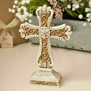 8-72 Ivory Cross Statue W/ Gold Accents - Religious Wedding Baptism Favors