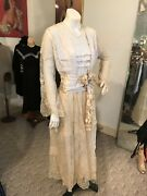 Antique 1910/20's Pongee Silk And French Lace Dress/wedding Gown/ True Elegance