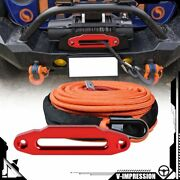 Red 10 15000lb Hawse Fairlead And Orange 95and039 3/8 Heat Guard Synthetic Winch Rope