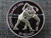 Gambia Olympics Barcelona Wrestlers 20 Dalasis .925 Silver Coin 1993 Pp