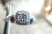 Vintage Stelring Silver 31 Mined Faceted .35 Tw Diamond Engagement Ring S 6.5