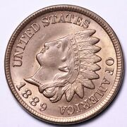 1889 Indian Head Cent Penny Gem Bu Very Beautiful Coin Free Shipping E590 Wcmt