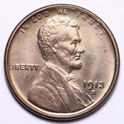 1913-s Lincoln Wheat Cent Penny Choice Bu Free Shipping E616 Wchm