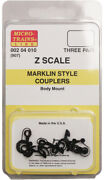 Micro-trains Mtl Z-scale Marklin-style Body Mount Replacement Couplers - 3 Pairs