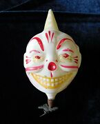 Rare Vtg Smiling Clown Head Clip Ornament Grinning Teeth Scary Glass Christmas