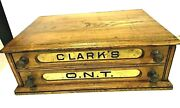 Antique Clarkandrsquos O.n.t Oak Spool Cotton 2 Drawer Store Display Cabinet