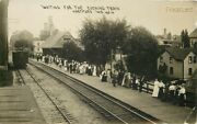 Wi Hartford Wisconsin Depot People Waiting For Train H. Montgomery Rppc