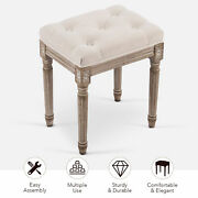 Vintage Foot Stool French Dressing Table Stool Chair Tufted Birchandrubberwood