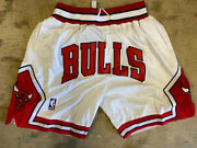 Chicago Bulls Menand039s Color White Just Don Summer League Stitched Vintage Shorts