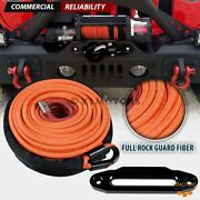Orange 3/8 X 95and039 Synthetic Winch Rope Cable 22000lb + 10 Black Hawse Fairlead