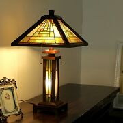 Style Arts And Crafts Mission Wood Table Lamps 15 Shade Walnut Base Pair