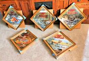 Set Of 5 Of 6 Miller Beer 3rd Wildlife Mirrors Mint In Box Artist Signed