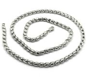 18k White Gold Chain 4mm Tube Rounded Drop Link 50cm 20 Made In Italy